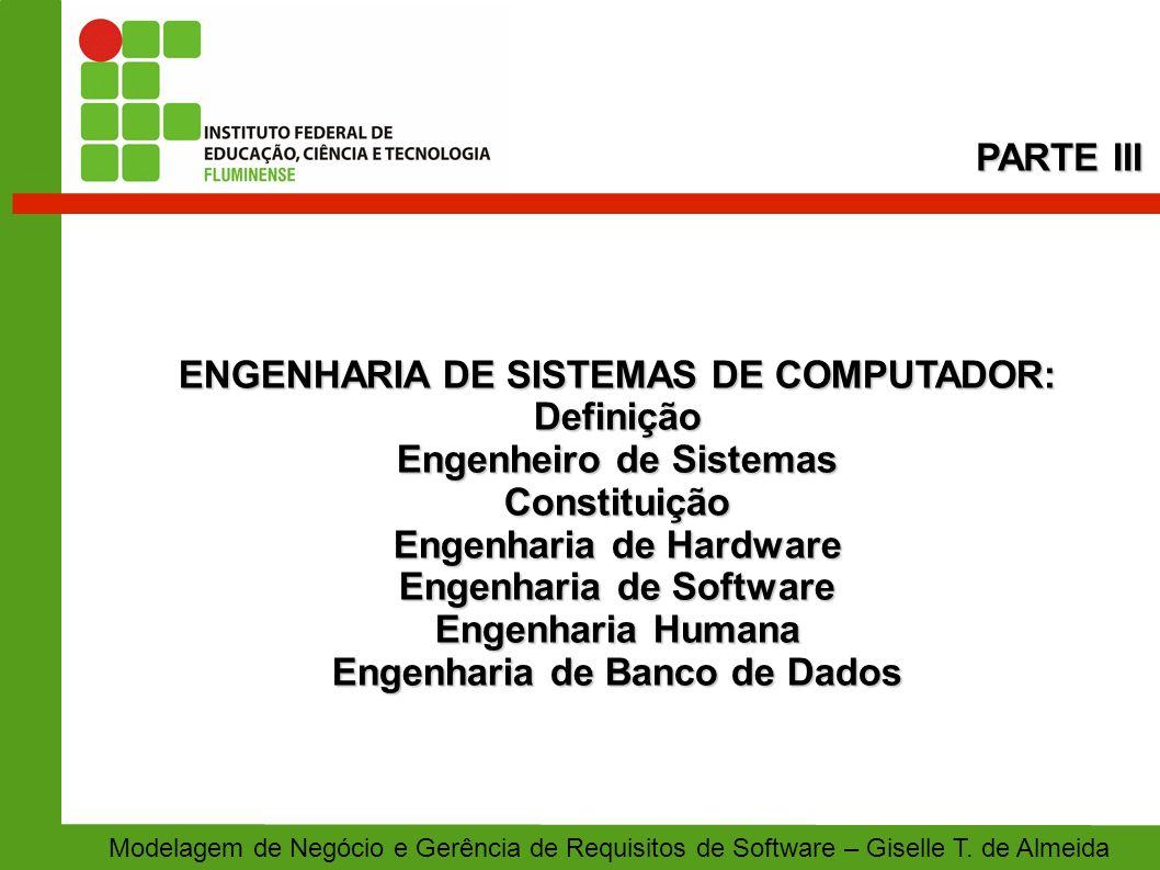 ENGENHARIA DE SISTEMAS DE COMPUTADOR: Definição Engenheiro de Sistemas Constituição Engenharia de Hardware Engenharia de Software Engenharia Humana En