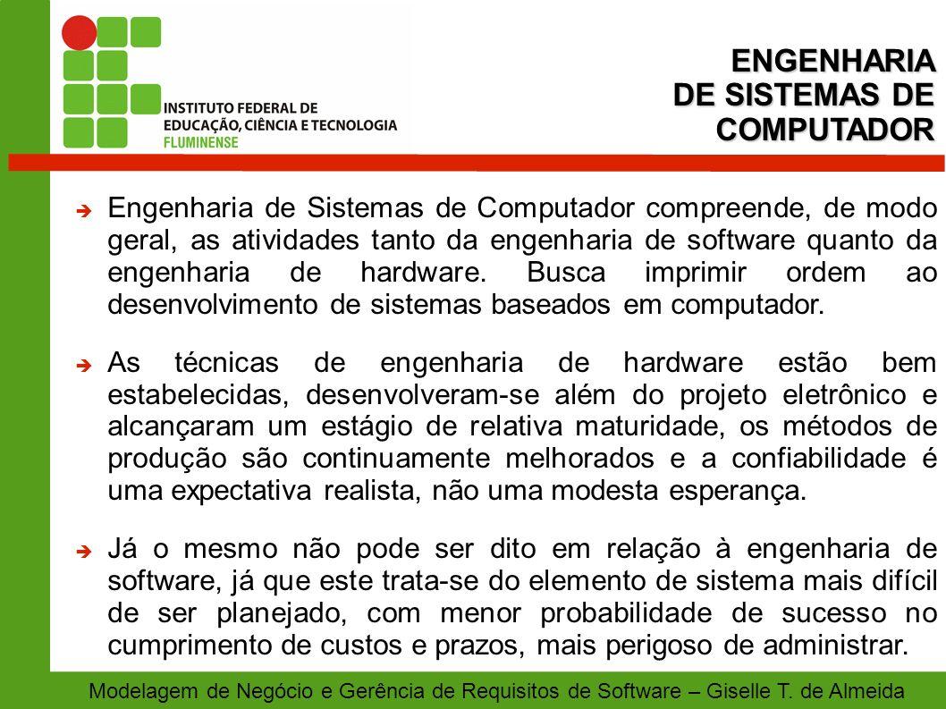 ENGENHARIA DE SISTEMAS DE COMPUTADOR Modelagem de Negócio e Gerência de Requisitos de Software – Giselle T. de Almeida Engenharia de Sistemas de Compu