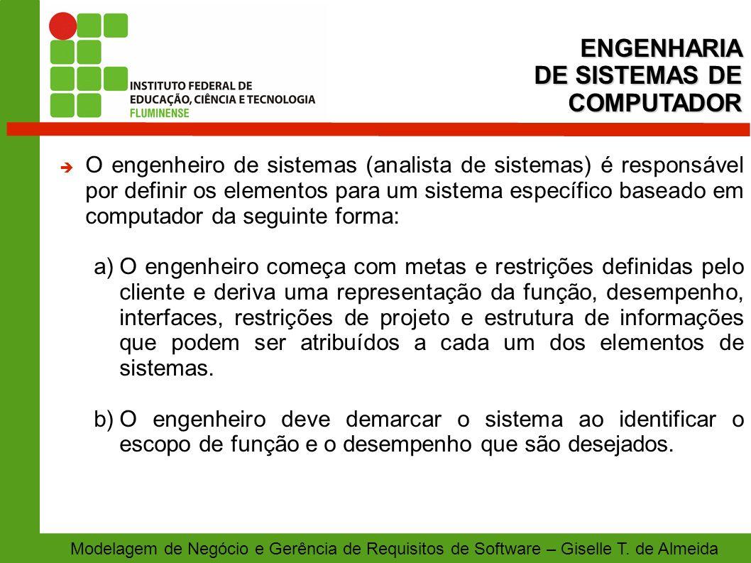 Modelagem de Negócio e Gerência de Requisitos de Software – Giselle T. de Almeida O engenheiro de sistemas (analista de sistemas) é responsável por de