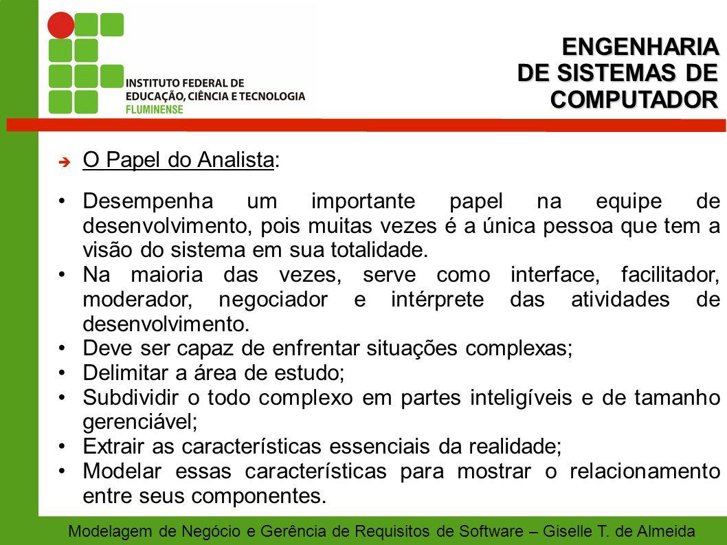 Modelagem de Negócio e Gerência de Requisitos de Software – Giselle T. de Almeida O Papel do Analista: Desempenha um importante papel na equipe de des