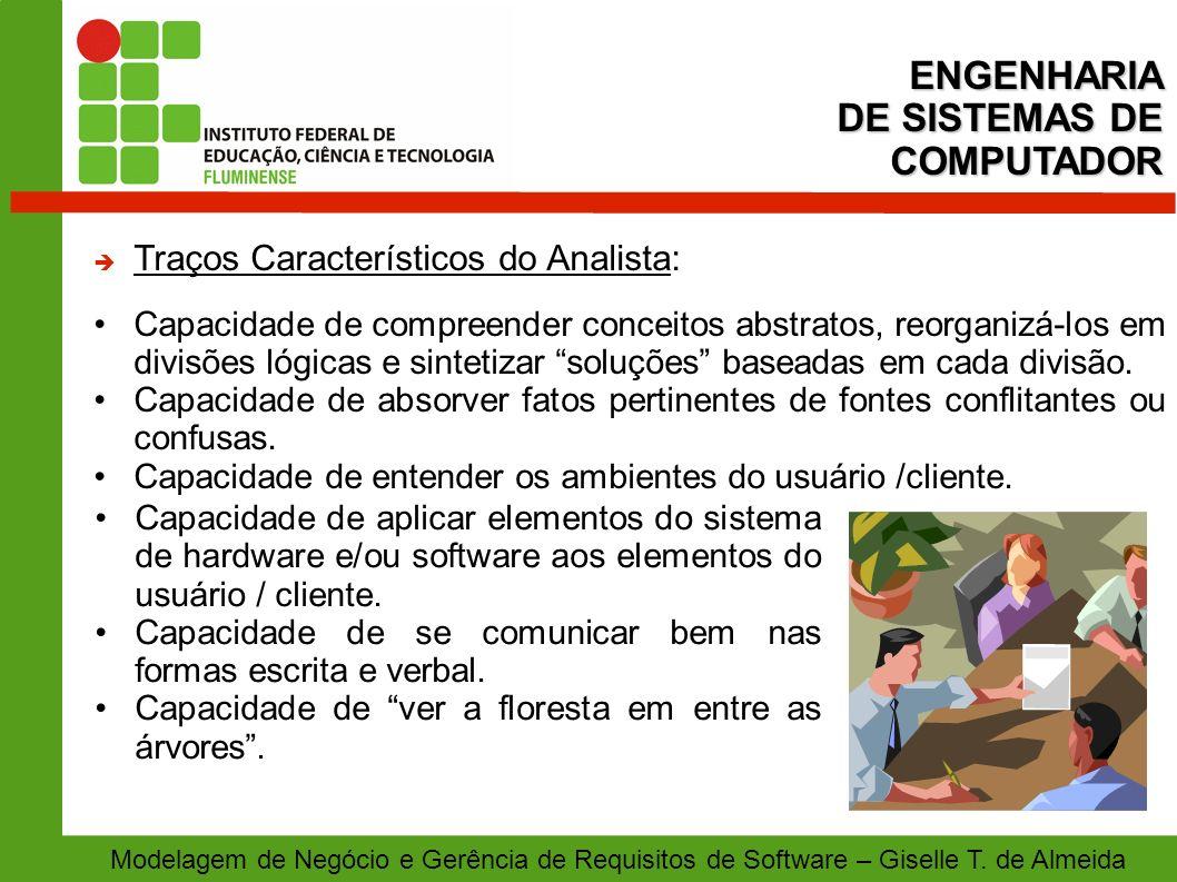 Modelagem de Negócio e Gerência de Requisitos de Software – Giselle T. de Almeida Traços Característicos do Analista: Capacidade de compreender concei