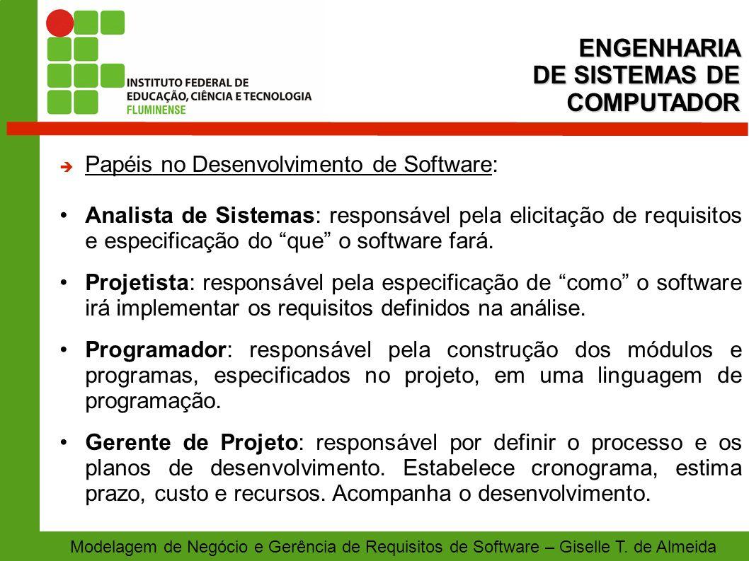 Modelagem de Negócio e Gerência de Requisitos de Software – Giselle T. de Almeida Papéis no Desenvolvimento de Software: Analista de Sistemas: respons