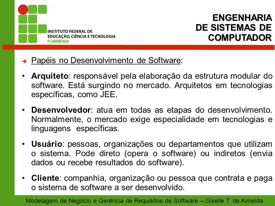 Modelagem de Negócio e Gerência de Requisitos de Software – Giselle T. de Almeida Papéis no Desenvolvimento de Software: Arquiteto: responsável pela e