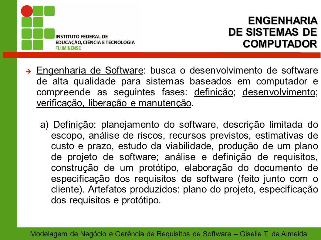 Modelagem de Negócio e Gerência de Requisitos de Software – Giselle T. de Almeida Engenharia de Software: busca o desenvolvimento de software de alta