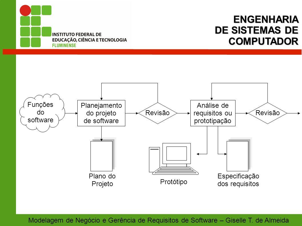 Modelagem de Negócio e Gerência de Requisitos de Software – Giselle T. de AlmeidaENGENHARIA DE SISTEMAS DE COMPUTADOR Revisão Plano do Projeto Especif