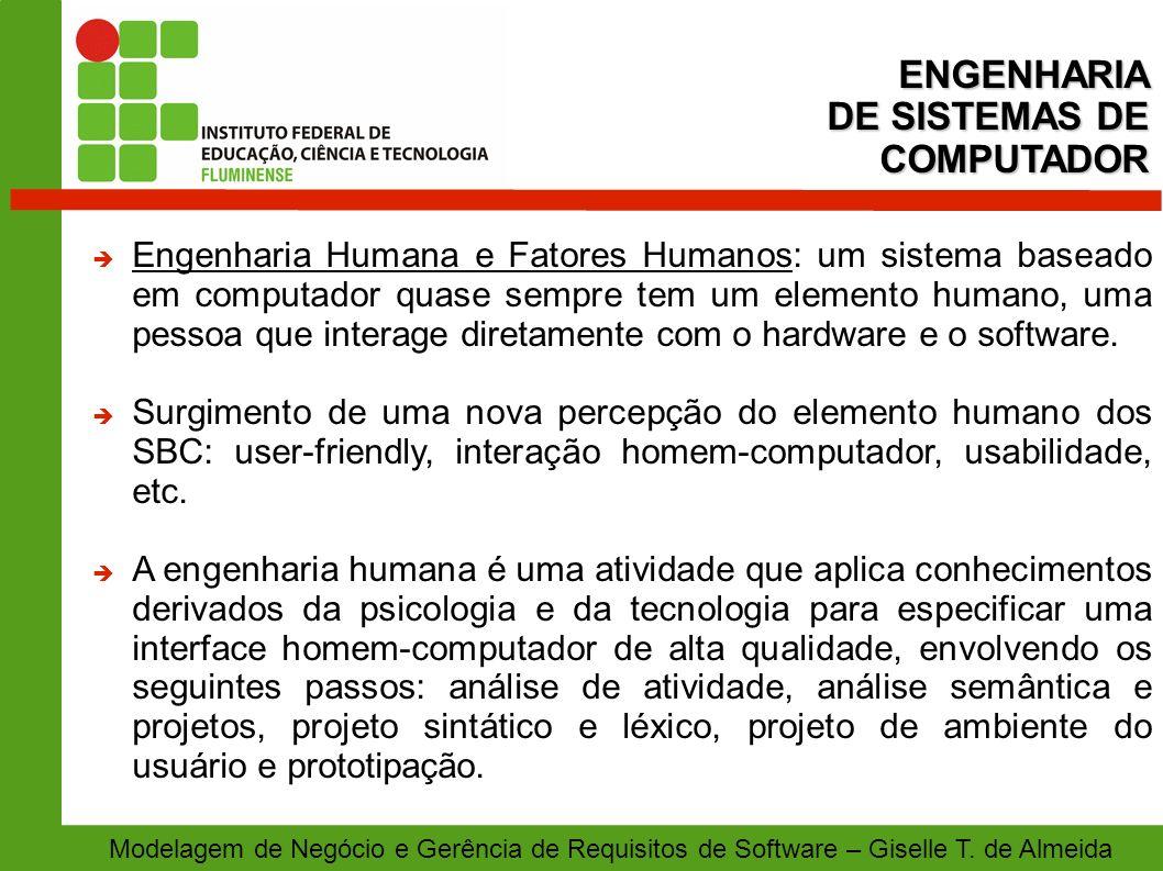 Modelagem de Negócio e Gerência de Requisitos de Software – Giselle T. de Almeida Engenharia Humana e Fatores Humanos: um sistema baseado em computado