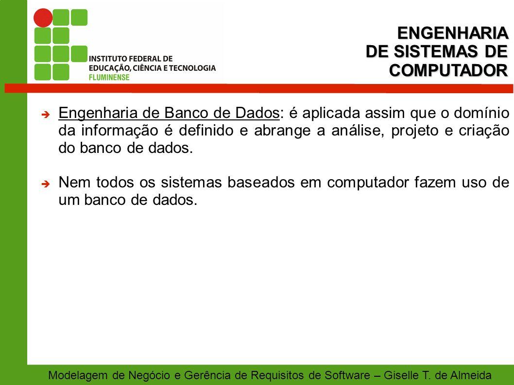 Modelagem de Negócio e Gerência de Requisitos de Software – Giselle T. de Almeida Engenharia de Banco de Dados: é aplicada assim que o domínio da info