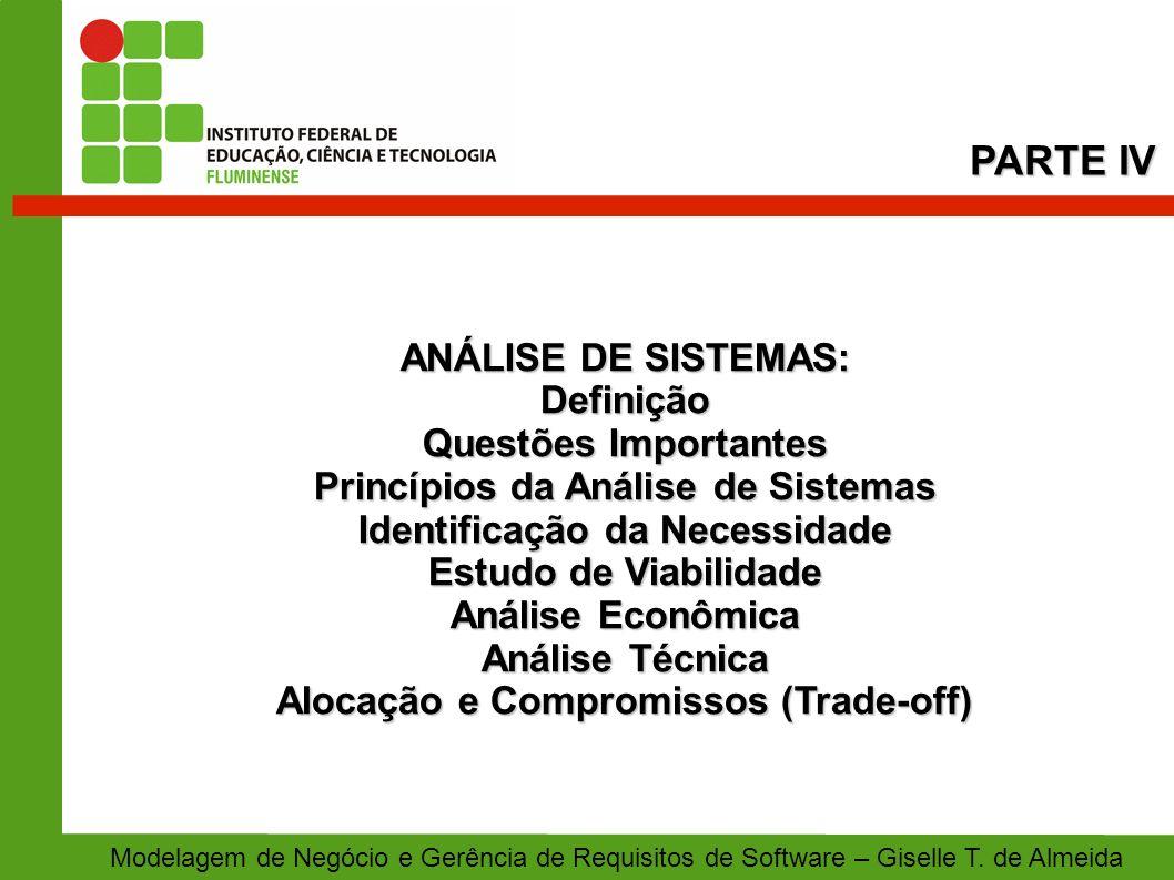 ANÁLISE DE SISTEMAS: Definição Questões Importantes Princípios da Análise de Sistemas Identificação da Necessidade Estudo de Viabilidade Análise Econô