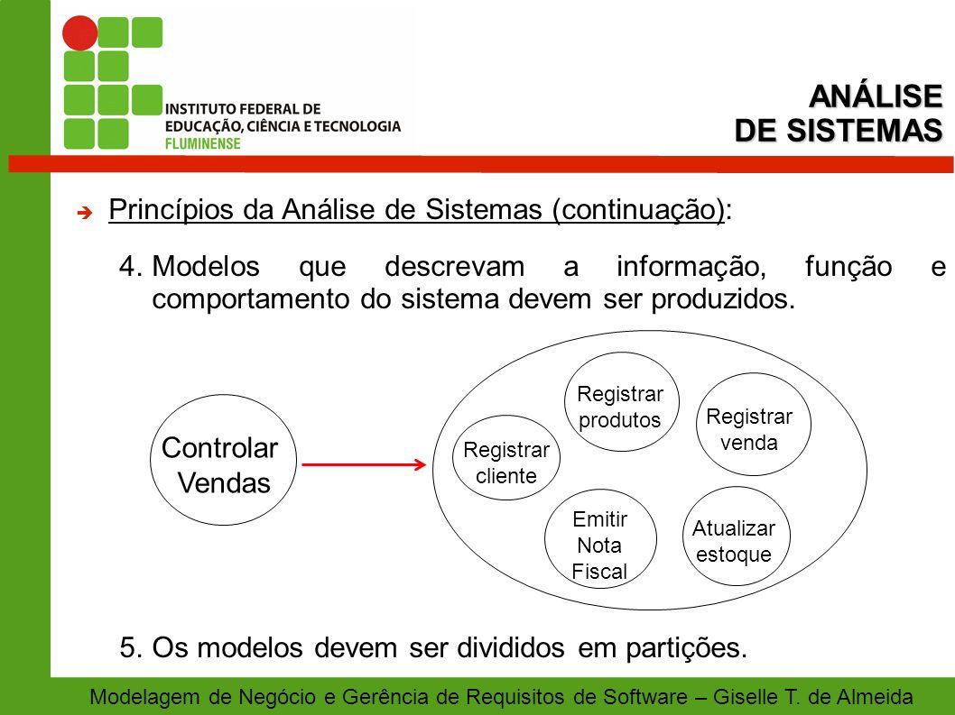Modelagem de Negócio e Gerência de Requisitos de Software – Giselle T. de Almeida Princípios da Análise de Sistemas (continuação): 4.Modelos que descr