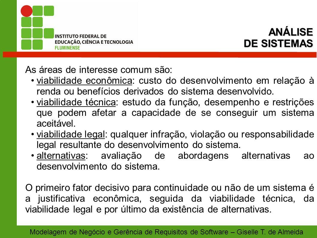 Modelagem de Negócio e Gerência de Requisitos de Software – Giselle T. de Almeida As áreas de interesse comum são: viabilidade econômica: custo do des
