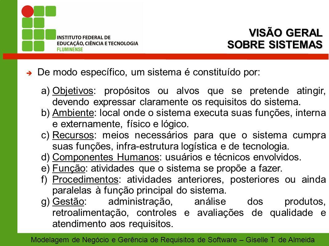 Modelagem de Negócio e Gerência de Requisitos de Software – Giselle T. de Almeida De modo específico, um sistema é constituído por: a)Objetivos: propó