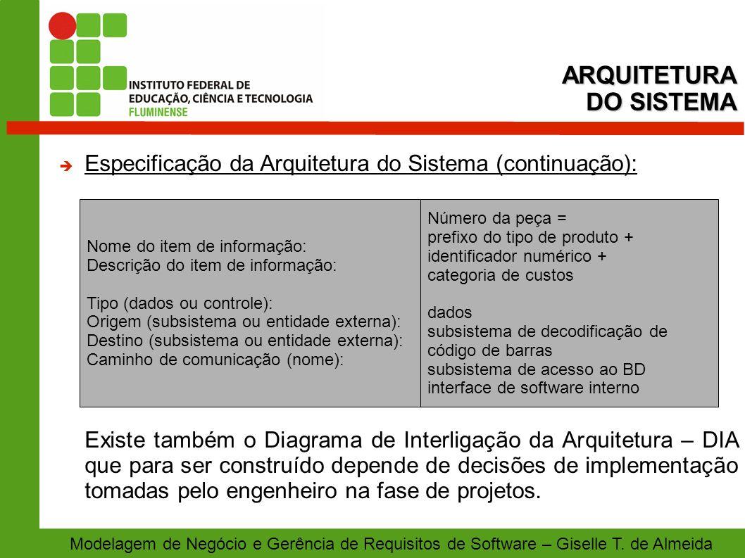 Modelagem de Negócio e Gerência de Requisitos de Software – Giselle T. de Almeida Especificação da Arquitetura do Sistema (continuação): Existe também