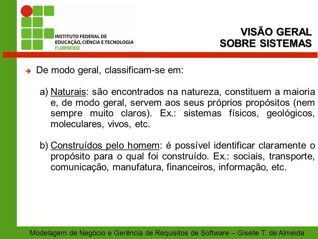 Modelagem de Negócio e Gerência de Requisitos de Software – Giselle T. de Almeida De modo geral, classificam-se em: a)Naturais: são encontrados na nat