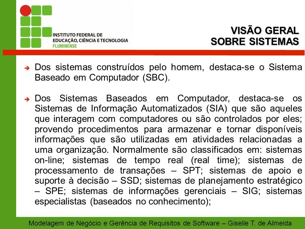 Modelagem de Negócio e Gerência de Requisitos de Software – Giselle T. de Almeida Dos sistemas construídos pelo homem, destaca-se o Sistema Baseado em