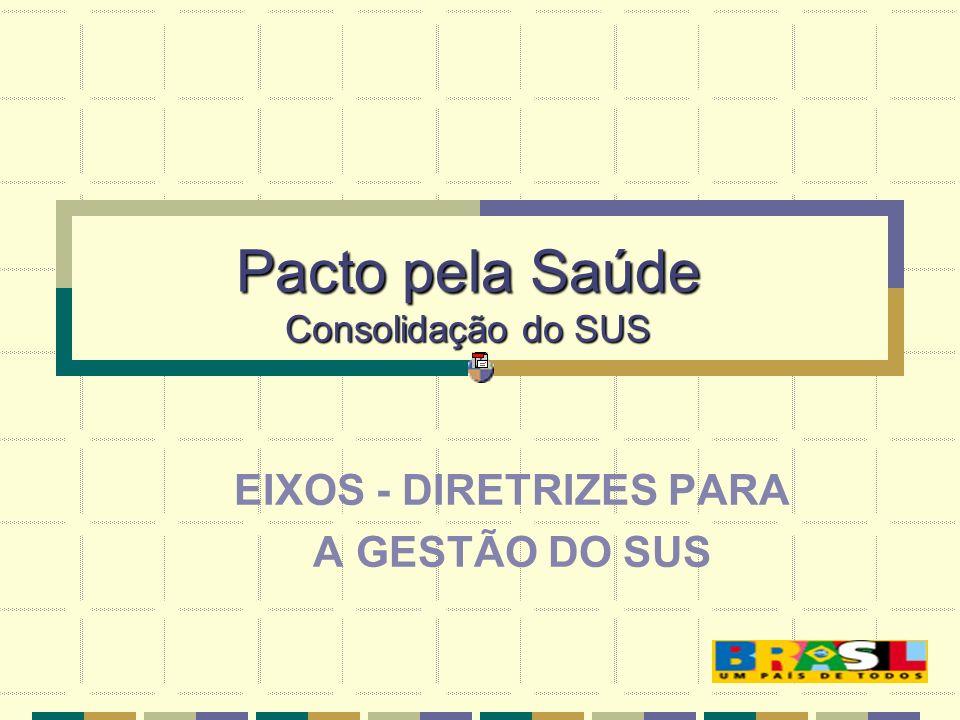Pacto pela Saúde Consolidação do SUS EIXOS - DIRETRIZES PARA A GESTÃO DO SUS