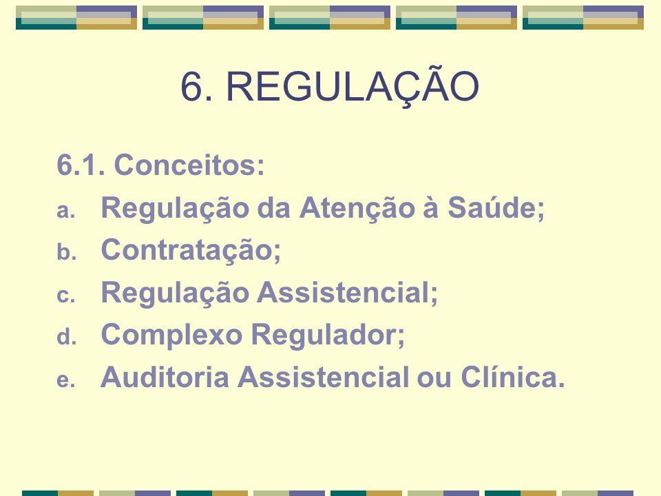 6. REGULAÇÃO 6.1. Conceitos: a. Regulação da Atenção à Saúde; b. Contratação; c. Regulação Assistencial; d. Complexo Regulador; e. Auditoria Assistenc