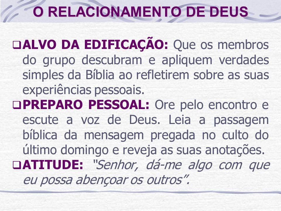 ALVO DA EDIFICAÇÃO: Que os membros do grupo descubram e apliquem verdades simples da Bíblia ao refletirem sobre as suas experiências pessoais. PREPARO