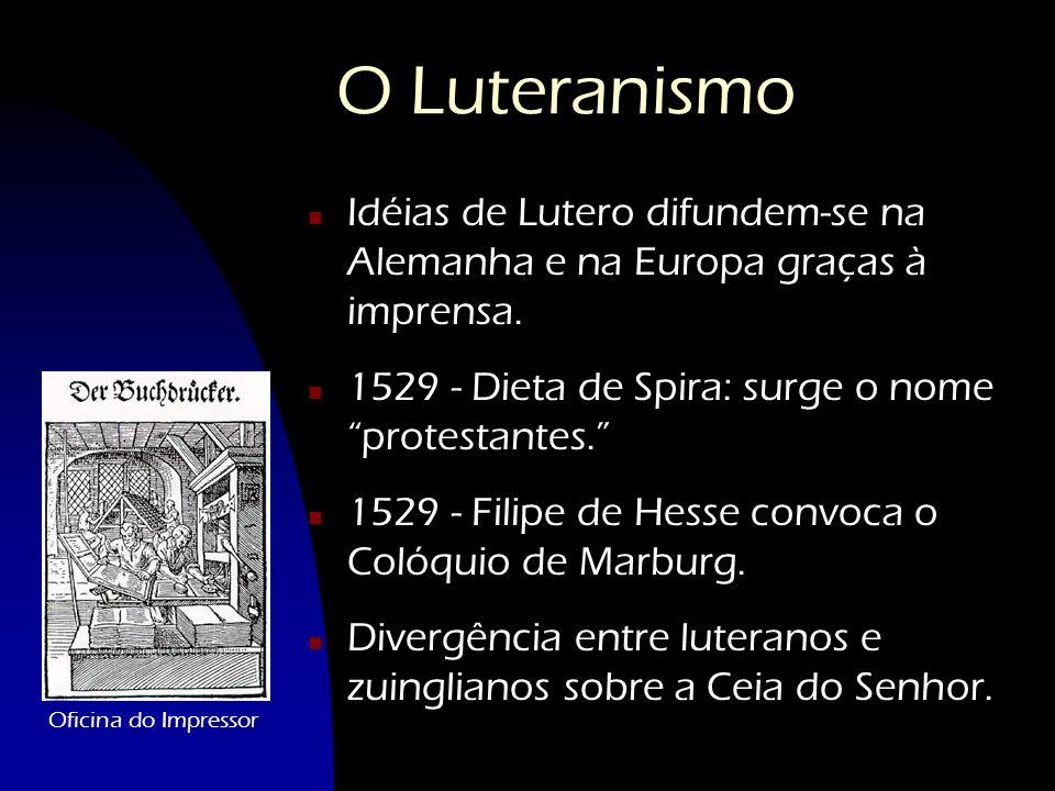O Luteranismo n Idéias de Lutero difundem-se na Alemanha e na Europa graças à imprensa. n 1529 - Dieta de Spira: surge o nome protestantes. n 1529 - F