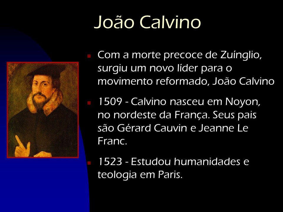 João Calvino n Com a morte precoce de Zuínglio, surgiu um novo líder para o movimento reformado, João Calvino n 1509 - Calvino nasceu em Noyon, no nor