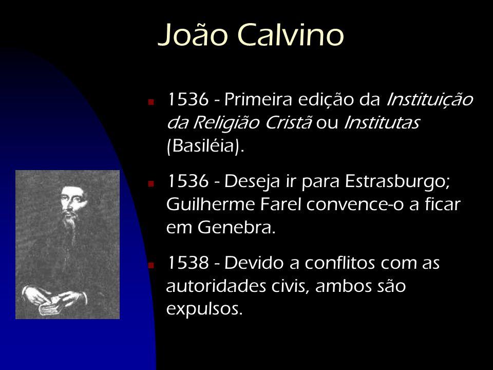 João Calvino n 1536 - Primeira edição da Instituição da Religião Cristã ou Institutas (Basiléia). n 1536 - Deseja ir para Estrasburgo; Guilherme Farel