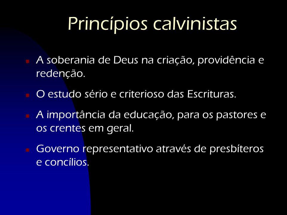 Princípios calvinistas n A soberania de Deus na criação, providência e redenção. n O estudo sério e criterioso das Escrituras. n A importância da educ