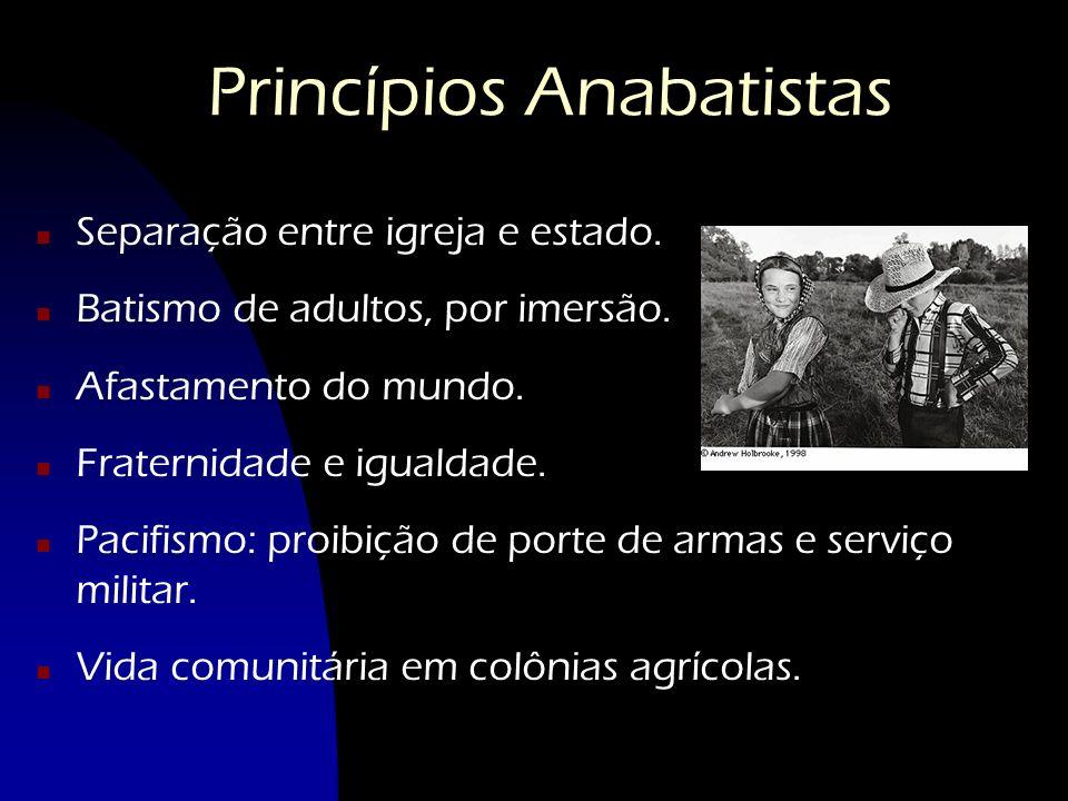 Princípios Anabatistas n Separação entre igreja e estado. n Batismo de adultos, por imersão. n Afastamento do mundo. n Fraternidade e igualdade. n Pac