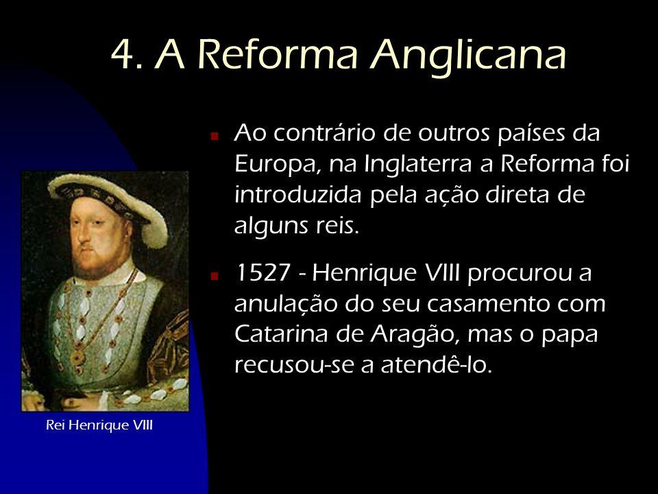 4. A Reforma Anglicana n Ao contrário de outros países da Europa, na Inglaterra a Reforma foi introduzida pela ação direta de alguns reis. n 1527 - He