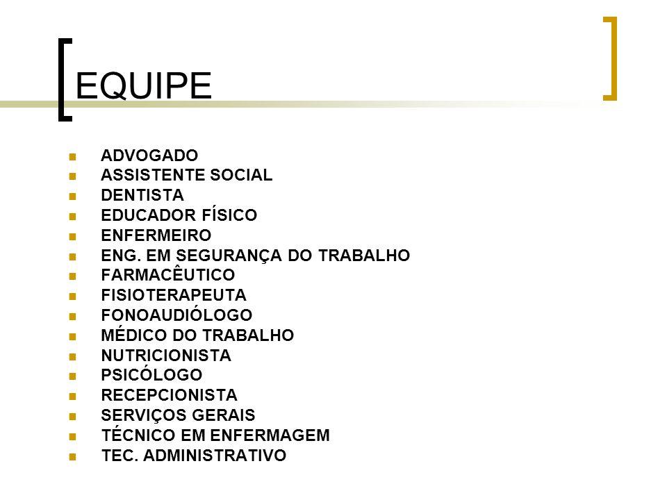 EQUIPE ADVOGADO ASSISTENTE SOCIAL DENTISTA EDUCADOR FÍSICO ENFERMEIRO ENG. EM SEGURANÇA DO TRABALHO FARMACÊUTICO FISIOTERAPEUTA FONOAUDIÓLOGO MÉDICO D
