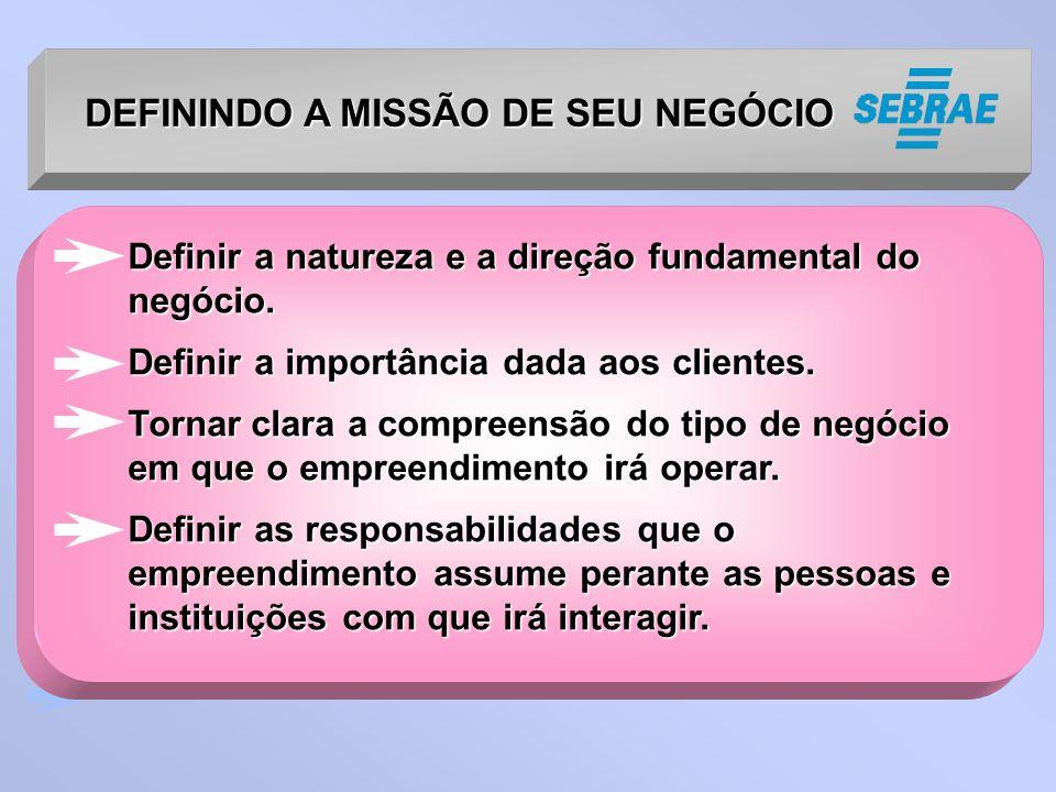 DEFININDO A MISSÃO DE SEU NEGÓCIO Definir a natureza e a direção fundamental do negócio.