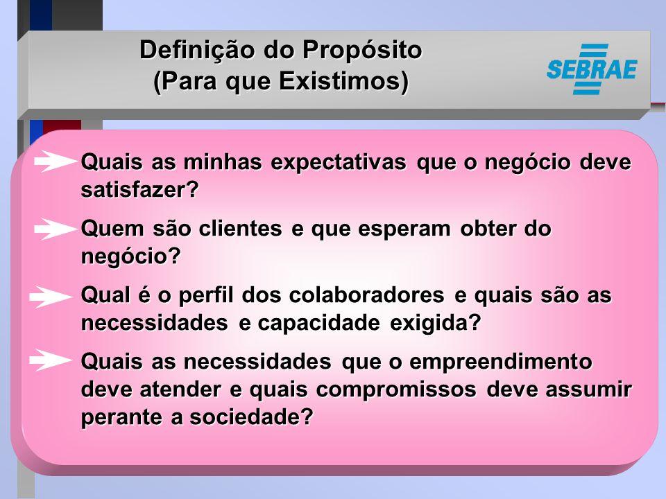 Definição do Propósito (Para que Existimos) Quais as minhas expectativas que o negócio deve satisfazer.