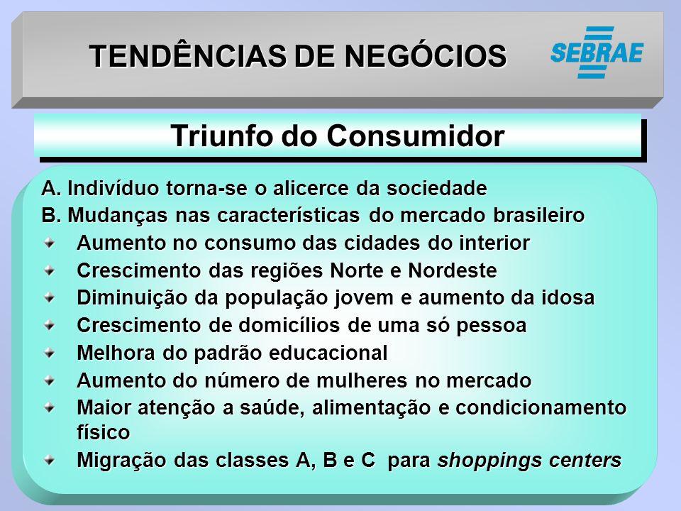 TENDÊNCIAS DE NEGÓCIOS A. Indivíduo torna-se o alicerce da sociedade B. Mudanças nas características do mercado brasileiro Aumento no consumo das cida