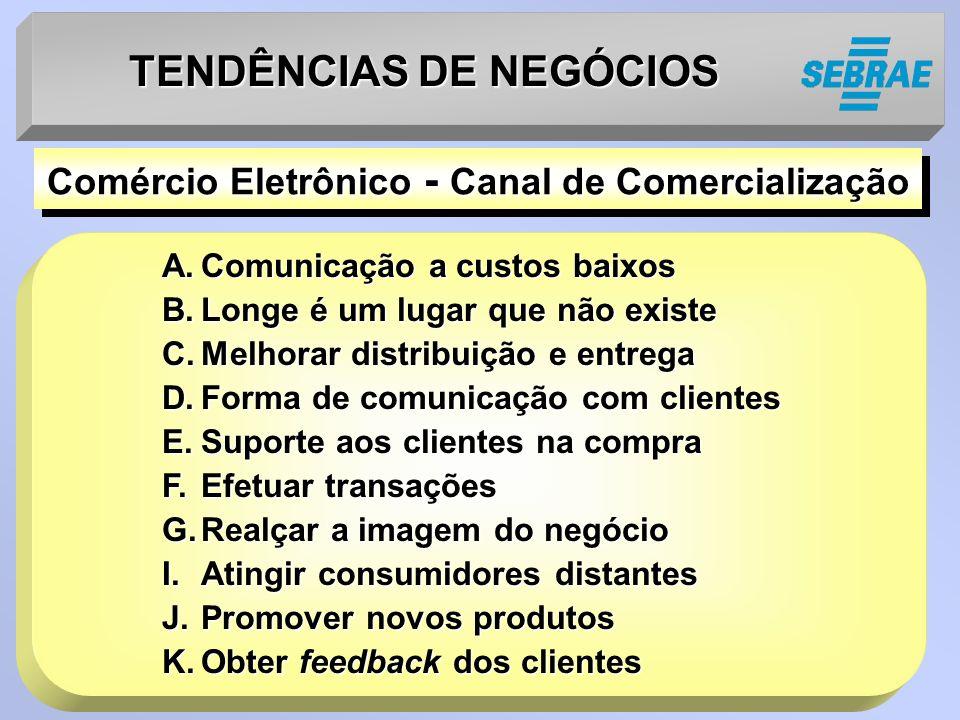TENDÊNCIAS DE NEGÓCIOS A.Comunicação a custos baixos B.Longe é um lugar que não existe C.Melhorar distribuição e entrega D.Forma de comunicação com cl