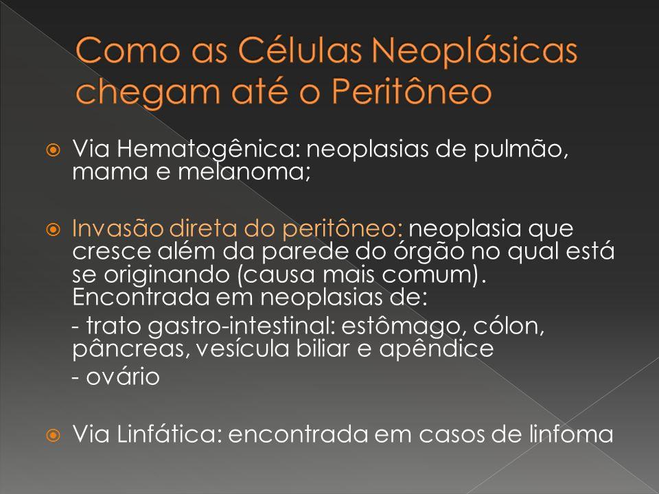 Via Hematogênica: neoplasias de pulmão, mama e melanoma; Invasão direta do peritôneo: neoplasia que cresce além da parede do órgão no qual está se ori