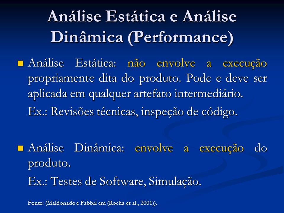 Análise Estática e Análise Dinâmica (Performance) Análise Estática: não envolve a execução propriamente dita do produto. Pode e deve ser aplicada em q