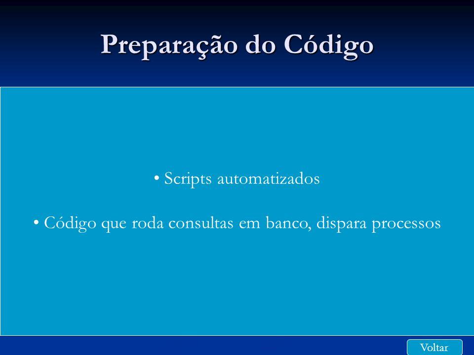 Preparação do Código Scripts automatizados Código que roda consultas em banco, dispara processos Voltar