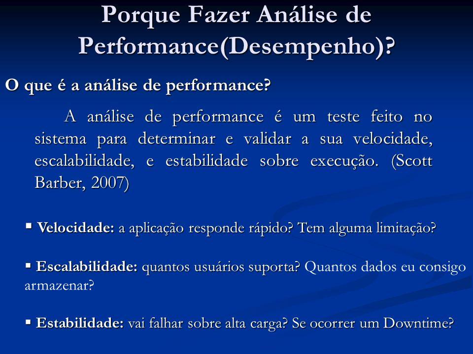Porque Fazer Análise de Performance(Desempenho)? A análise de performance é um teste feito no sistema para determinar e validar a sua velocidade, esca