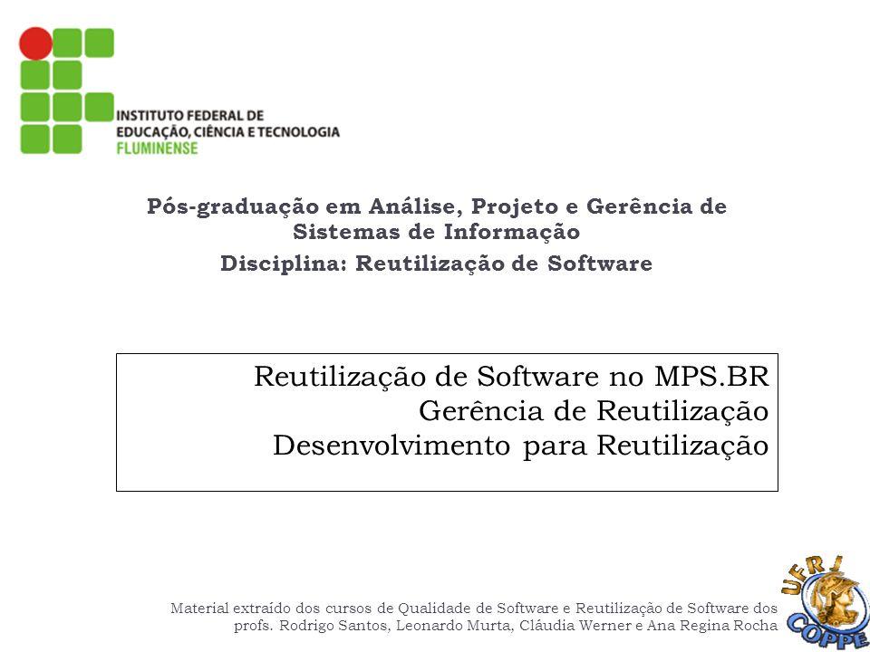 MR MPS Gerência de Reutilização (GRU) Rodrigo SantosReutilização de Software no MPS.BR42 GRU 4 – Os ativos reutilizáveis são periodicamente mantidos, segundo os critérios definidos, e suas modificações são controladas ao longo do seu ciclo de vida Ativos devem estar sob GCO e GQA Aplicar os procedimentos de gerência de configuração sempre que for necessário modificar algum ativo da biblioteca Repositório de gerência de configuração Versões de desenvolvimento Biblioteca de reutilização Liberações do repositório de gerência de configuração Aplicação dos critérios estabelecidos para certificação de ativos Aplicação do processo de Verificação Versões de produção