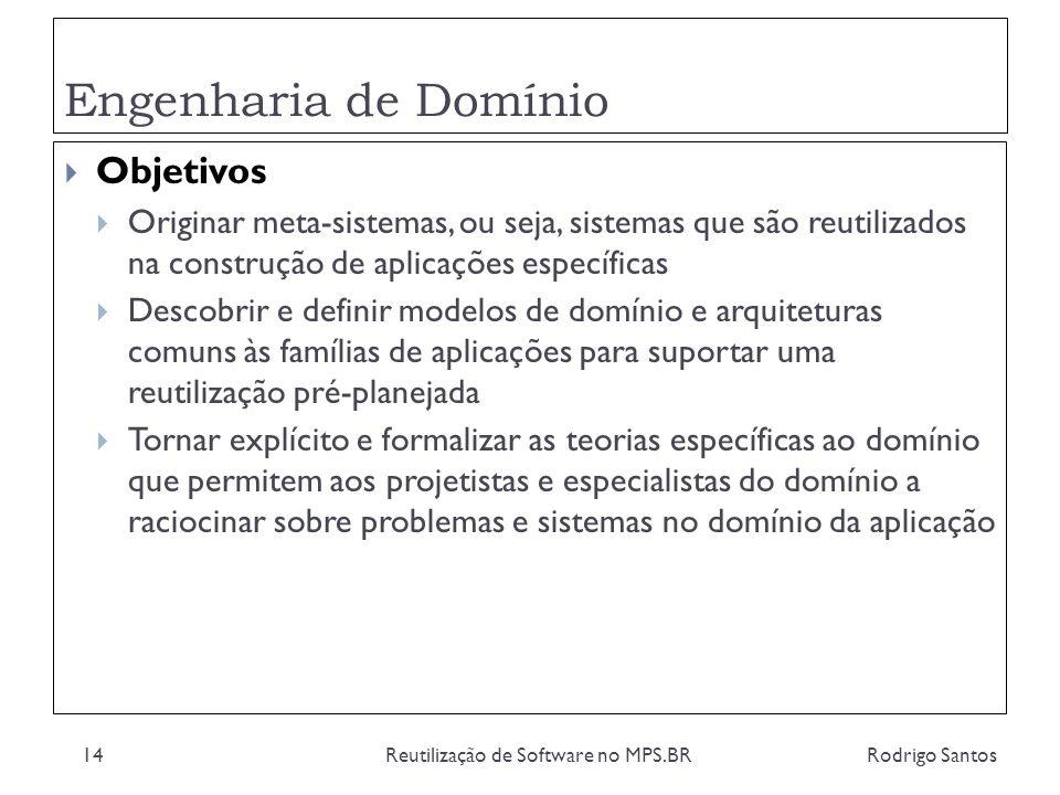 Engenharia de Domínio Rodrigo SantosReutilização de Software no MPS.BR14 Objetivos Originar meta-sistemas, ou seja, sistemas que são reutilizados na c