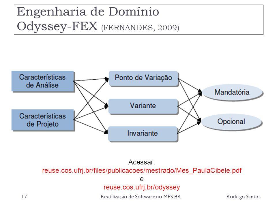 Engenharia de Domínio Odyssey-FEX (FERNANDES, 2009) Rodrigo SantosReutilização de Software no MPS.BR17 Acessar: reuse.cos.ufrj.br/files/publicacoes/me