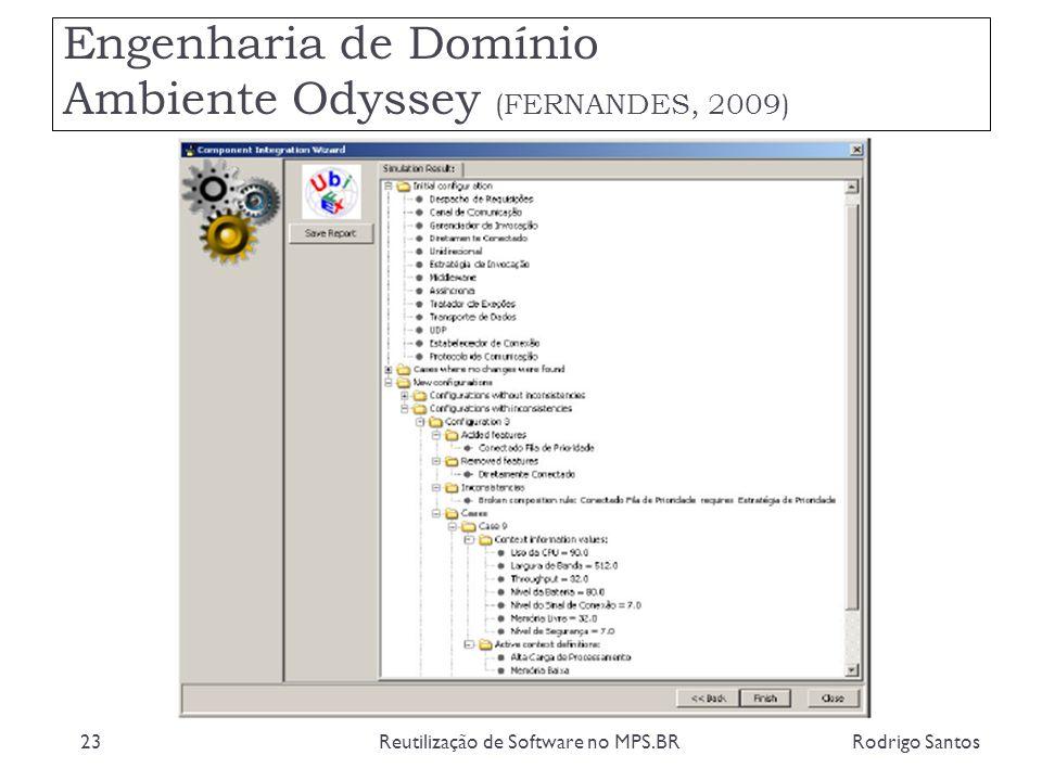 Engenharia de Domínio Ambiente Odyssey (FERNANDES, 2009) Rodrigo SantosReutilização de Software no MPS.BR23