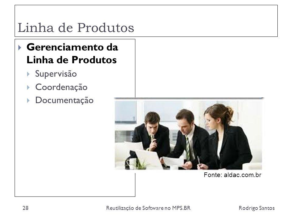 Linha de Produtos Rodrigo SantosReutilização de Software no MPS.BR28 Gerenciamento da Linha de Produtos Supervisão Coordenação Documentação Fonte: ald