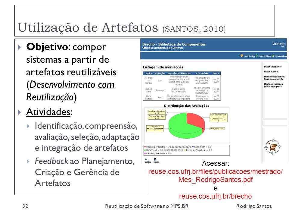 Utilização de Artefatos (SANTOS, 2010) Rodrigo SantosReutilização de Software no MPS.BR32 Objetivo: compor sistemas a partir de artefatos reutilizávei
