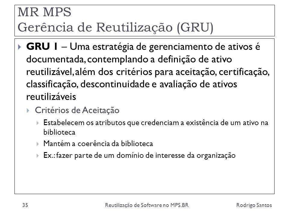 MR MPS Gerência de Reutilização (GRU) Rodrigo SantosReutilização de Software no MPS.BR35 GRU 1 – Uma estratégia de gerenciamento de ativos é documenta