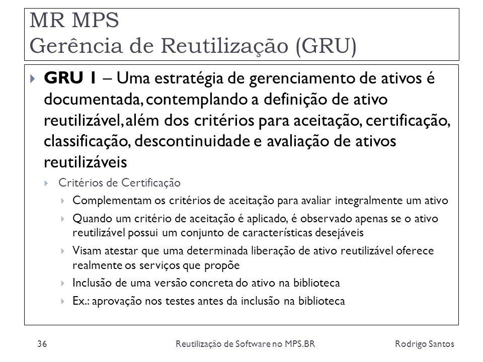 MR MPS Gerência de Reutilização (GRU) Rodrigo SantosReutilização de Software no MPS.BR36 GRU 1 – Uma estratégia de gerenciamento de ativos é documenta