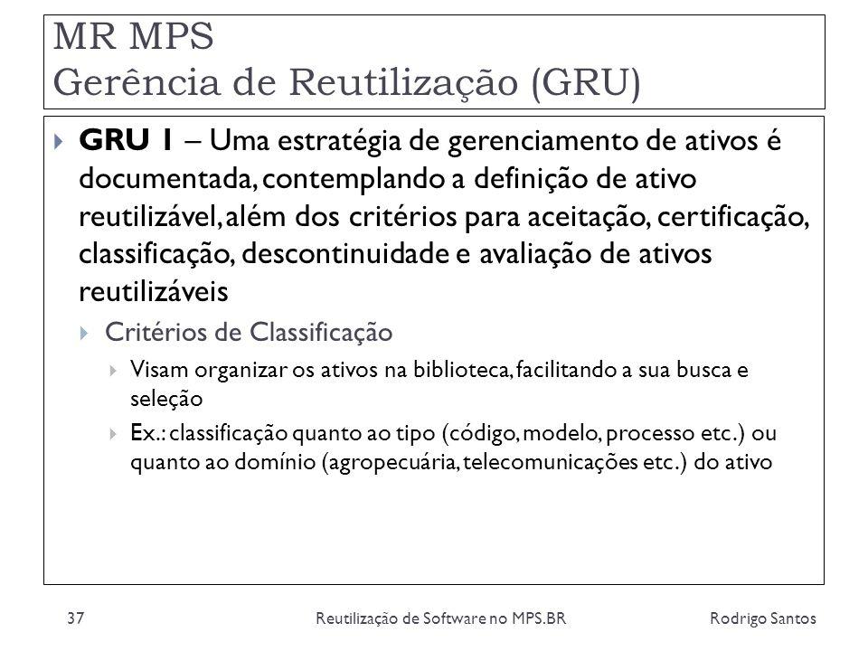 MR MPS Gerência de Reutilização (GRU) Rodrigo SantosReutilização de Software no MPS.BR37 GRU 1 – Uma estratégia de gerenciamento de ativos é documenta