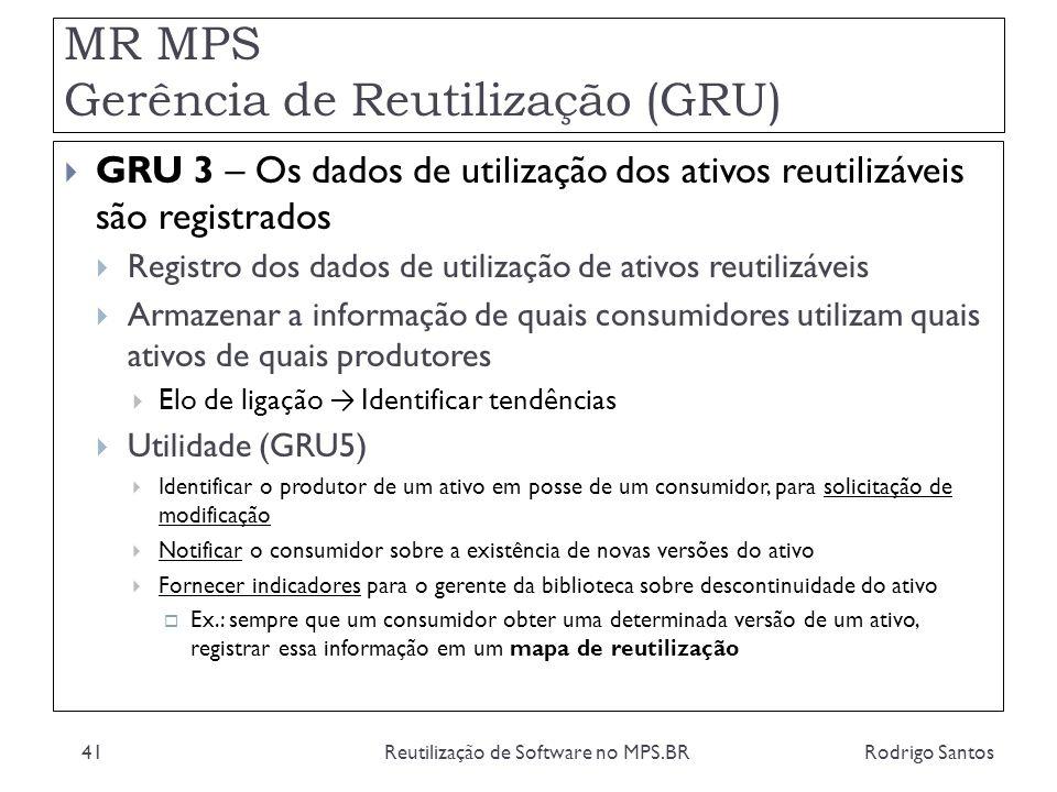MR MPS Gerência de Reutilização (GRU) Rodrigo SantosReutilização de Software no MPS.BR41 GRU 3 – Os dados de utilização dos ativos reutilizáveis são r