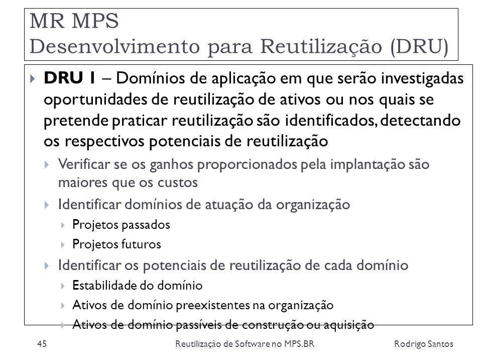 MR MPS Desenvolvimento para Reutilização (DRU) Rodrigo SantosReutilização de Software no MPS.BR45 DRU 1 – Domínios de aplicação em que serão investiga