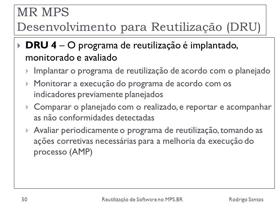 MR MPS Desenvolvimento para Reutilização (DRU) Rodrigo SantosReutilização de Software no MPS.BR50 DRU 4 – O programa de reutilização é implantado, mon
