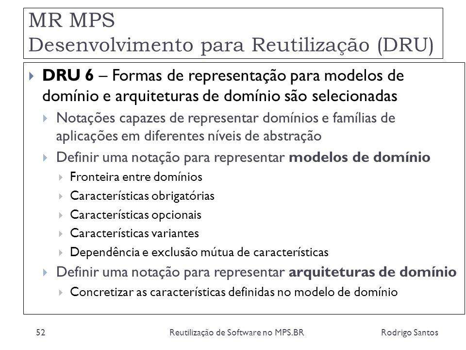 MR MPS Desenvolvimento para Reutilização (DRU) Rodrigo SantosReutilização de Software no MPS.BR52 DRU 6 – Formas de representação para modelos de domí