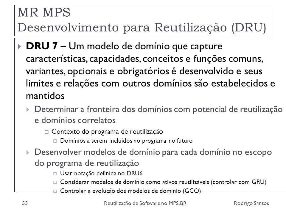 MR MPS Desenvolvimento para Reutilização (DRU) Rodrigo SantosReutilização de Software no MPS.BR53 DRU 7 – Um modelo de domínio que capture característ
